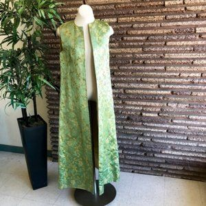 Chinese Vintage Green Brocade Open Maxi Vest